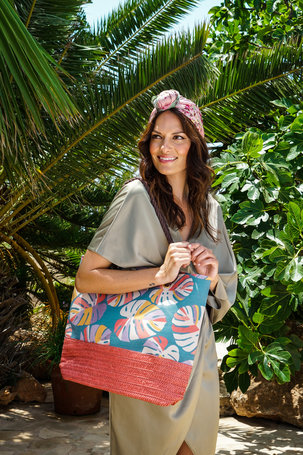 Palm Leaf Print Beach Bag