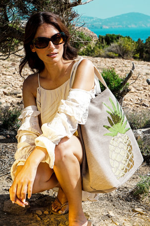 Boho Pineapple Bag - Stone