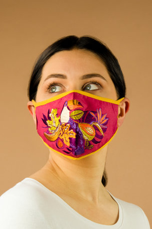 Embroidered Face Covering - Fruity Toucan