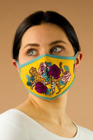 Embroidered Face Covering - Leopard Floral