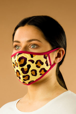 Embroidered Face Covering - Leopard Print