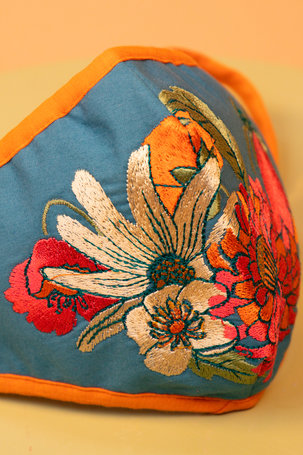 Embroidered Face Covering - Retro Meadow