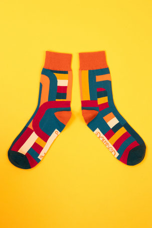 Men's Socks Curved Stripes - Teal