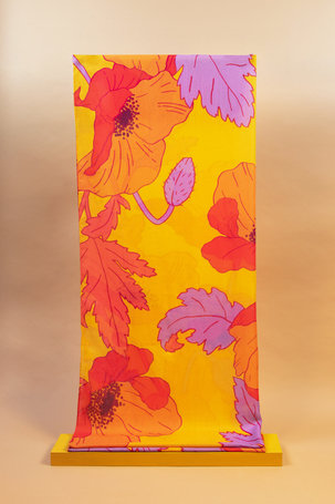 Printed Scarf Summer Poppy - Yellow